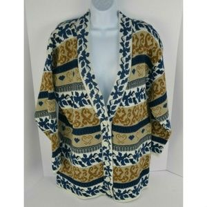 Vtg 1980's Heavyweight Cardigan Sweater Blue/Gold